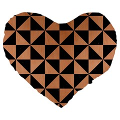 Triangle1 Black Marble & Natural Red Birch Wood Large 19  Premium Heart Shape Cushions by trendistuff