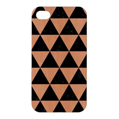 Triangle3 Black Marble & Natural Red Birch Wood Apple Iphone 4/4s Premium Hardshell Case by trendistuff