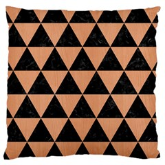 Triangle3 Black Marble & Natural Red Birch Wood Large Cushion Case (one Side) by trendistuff
