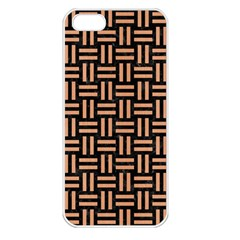 Woven1 Black Marble & Natural Red Birch Wood Apple Iphone 5 Seamless Case (white) by trendistuff