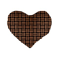 Woven1 Black Marble & Natural Red Birch Wood Standard 16  Premium Flano Heart Shape Cushions by trendistuff
