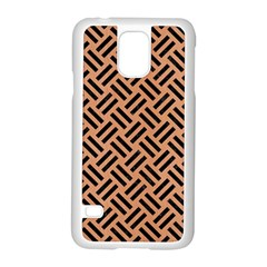 Woven2 Black Marble & Natural Red Birch Wood (r) Samsung Galaxy S5 Case (white) by trendistuff