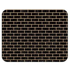 Brick1 Black Marble & Natural White Birch Wood Double Sided Flano Blanket (medium)  by trendistuff