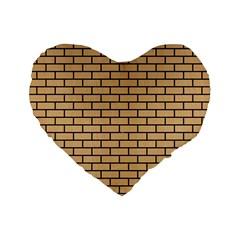 Brick1 Black Marble & Natural White Birch Wood (r) Standard 16  Premium Flano Heart Shape Cushions by trendistuff