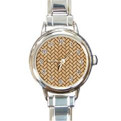 Brick2 Black Marble & Natural White Birch Wood (r) Round Italian Charm Watch by trendistuff