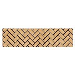 Brick2 Black Marble & Natural White Birch Wood (r) Satin Scarf (oblong) by trendistuff