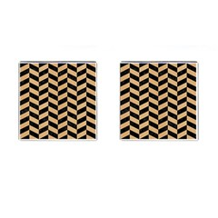 Chevron1 Black Marble & Natural White Birch Wood Cufflinks (square) by trendistuff