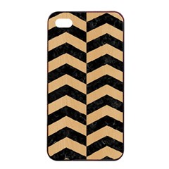 Chevron2 Black Marble & Natural White Birch Wood Apple Iphone 4/4s Seamless Case (black) by trendistuff