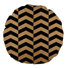 Chevron2 Black Marble & Natural White Birch Wood Large 18  Premium Flano Round Cushions by trendistuff