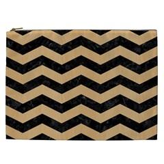 Chevron3 Black Marble & Natural White Birch Wood Cosmetic Bag (xxl)  by trendistuff