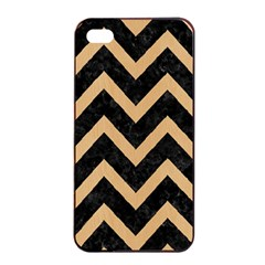 Chevron9 Black Marble & Natural White Birch Wood Apple Iphone 4/4s Seamless Case (black) by trendistuff
