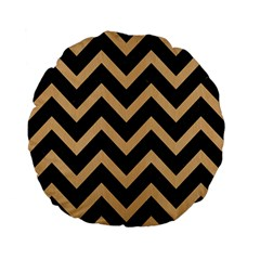 Chevron9 Black Marble & Natural White Birch Wood Standard 15  Premium Flano Round Cushions by trendistuff