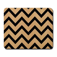 Chevron9 Black Marble & Natural White Birch Wood (r) Large Mousepads by trendistuff