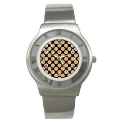Circles2 Black Marble & Natural White Birch Wood Stainless Steel Watch by trendistuff