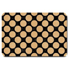 Circles2 Black Marble & Natural White Birch Wood Large Doormat  by trendistuff