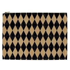 Diamond1 Black Marble & Natural White Birch Wood Cosmetic Bag (xxl)  by trendistuff