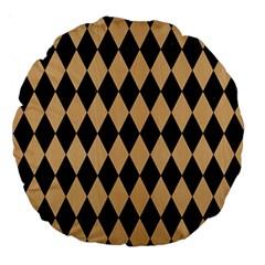Diamond1 Black Marble & Natural White Birch Wood Large 18  Premium Round Cushions by trendistuff