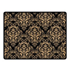 Damask1 Black Marble & Natural White Birch Wood Double Sided Fleece Blanket (small)  by trendistuff