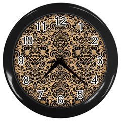 Damask2 Black Marble & Natural White Birch Wood (r) Wall Clocks (black) by trendistuff