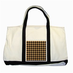 Houndstooth1 Black Marble & Natural White Birch Wood Two Tone Tote Bag by trendistuff