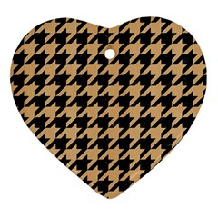 Houndstooth1 Black Marble & Natural White Birch Wood Heart Ornament (two Sides) by trendistuff