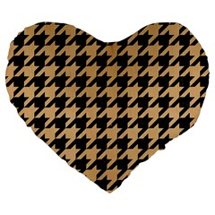 Houndstooth1 Black Marble & Natural White Birch Wood Large 19  Premium Flano Heart Shape Cushions by trendistuff
