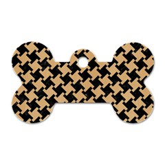 Houndstooth2 Black Marble & Natural White Birch Wood Dog Tag Bone (one Side) by trendistuff