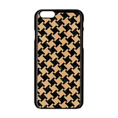 Houndstooth2 Black Marble & Natural White Birch Wood Apple Iphone 6/6s Black Enamel Case by trendistuff