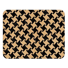 Houndstooth2 Black Marble & Natural White Birch Wood Double Sided Flano Blanket (large)  by trendistuff