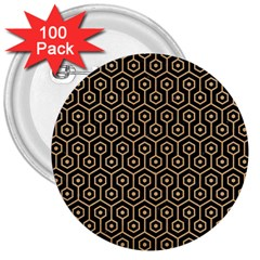 Hexagon1 Black Marble & Natural White Birch Wood 3  Buttons (100 Pack)  by trendistuff