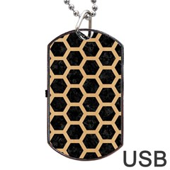Hexagon2 Black Marble & Natural White Birch Wood Dog Tag Usb Flash (two Sides) by trendistuff
