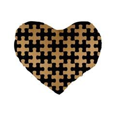 Puzzle1 Black Marble & Natural White Birch Wood Standard 16  Premium Heart Shape Cushions by trendistuff