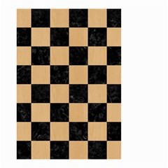 Square1 Black Marble & Natural White Birch Wood Small Garden Flag (two Sides) by trendistuff