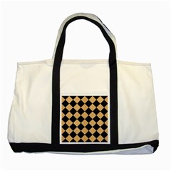 Square2 Black Marble & Natural White Birch Wood Two Tone Tote Bag by trendistuff