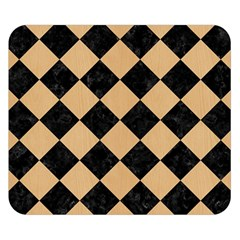 Square2 Black Marble & Natural White Birch Wood Double Sided Flano Blanket (small)  by trendistuff