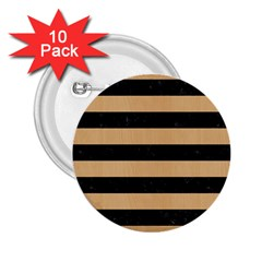 Stripes2 Black Marble & Natural White Birch Wood 2 25  Buttons (10 Pack)  by trendistuff