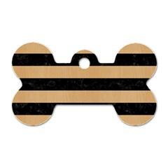 Stripes2 Black Marble & Natural White Birch Wood Dog Tag Bone (one Side) by trendistuff