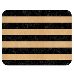 Stripes2 Black Marble & Natural White Birch Wood Double Sided Flano Blanket (medium)  by trendistuff