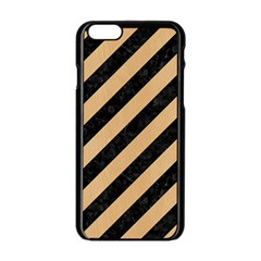 Stripes3 Black Marble & Natural White Birch Wood Apple Iphone 6/6s Black Enamel Case by trendistuff
