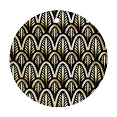 Art Deco Gold Black Shell Pattern Round Ornament (two Sides) by 8fugoso