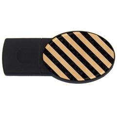 Stripes3 Black Marble & Natural White Birch Wood (r) Usb Flash Drive Oval (4 Gb) by trendistuff