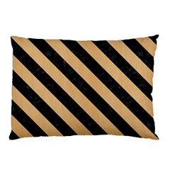 Stripes3 Black Marble & Natural White Birch Wood (r) Pillow Case (two Sides) by trendistuff