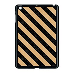 Stripes3 Black Marble & Natural White Birch Wood (r) Apple Ipad Mini Case (black) by trendistuff