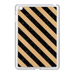 Stripes3 Black Marble & Natural White Birch Wood (r) Apple Ipad Mini Case (white) by trendistuff