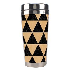 Triangle3 Black Marble & Natural White Birch Wood Stainless Steel Travel Tumblers by trendistuff