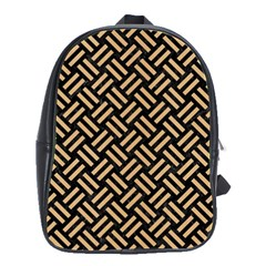 Woven2 Black Marble & Natural White Birch Wood School Bag (large) by trendistuff