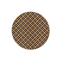 Woven2 Black Marble & Natural White Birch Wood (r) Rubber Coaster (round)  by trendistuff