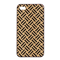Woven2 Black Marble & Natural White Birch Wood (r) Apple Iphone 4/4s Seamless Case (black) by trendistuff