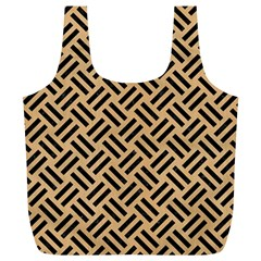 Woven2 Black Marble & Natural White Birch Wood (r) Full Print Recycle Bags (l)  by trendistuff