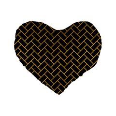 Brick2 Black Marble & Orange Colored Pencil Standard 16  Premium Heart Shape Cushions by trendistuff
